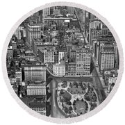 Aerial View Of Union Square Round Beach Towel