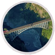 Aerial View Of Victoria Falls Suspension Bridge Round Beach Towel