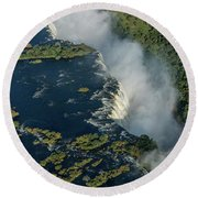 Aerial View Of Victoria Falls With Bridge Round Beach Towel
