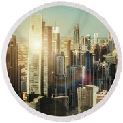 Aerial View Over Dubai's Towers At Sunset.  Round Beach Towel