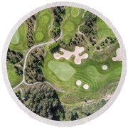 Aerial View Over Golf Field In Poland. Summer Time. Round Beach Towel