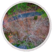 Aerial View Over Wooded Forest And Road Round Beach Towel
