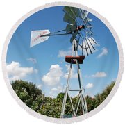 Aeromotor Windmill Round Beach Towel