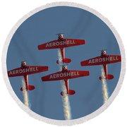 Aeroshell Aerobatic Team Round Beach Towel by Susan Rissi Tregoning