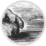 Aesop: Dog & His Shadow Round Beach Towel