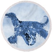 Afghan Hound-blue Round Beach Towel