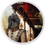 Afghan Hound-capriccio Of Colonade And The Courtyard Of A Palace Canvas Fine Art Print Round Beach Towel