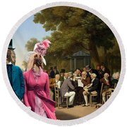 Afghan Hound-politicians In The Tuileries Gardens  Canvas Fine Art Print Round Beach Towel