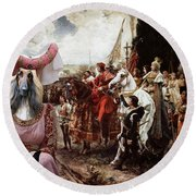 Afghan Hound-the Reverance To The Queen Canvas Fine Art Print Round Beach Towel