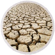 Africa Cracked Mud Round Beach Towel