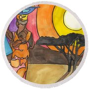 Africa Women Round Beach Towel