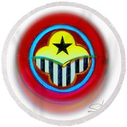 African American Button Round Beach Towel