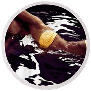 African American Woman In Bikini Lying In Black Water Round Beach Towel