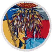 African Beauty 2 Round Beach Towel