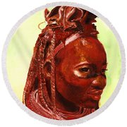African Beauty Round Beach Towel
