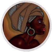 African Beauty Round Beach Towel