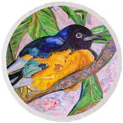 African Blue Eared Starling Round Beach Towel