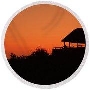 African Bush Sunset Round Beach Towel