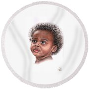African Child Round Beach Towel