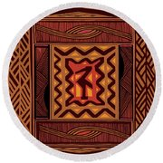 African Collage Rust Round Beach Towel