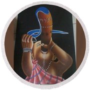 African Culture Round Beach Towel