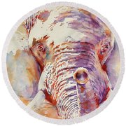 African Elephant _ The Governor Round Beach Towel