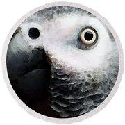 African Gray Parrot Art - Softy Round Beach Towel
