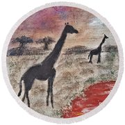 African Landscape Giraffe And Banya Tree At Watering Hole With Mountain And Sunset Grasses Shrubs Sa Round Beach Towel