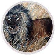African Lion 2 Round Beach Towel