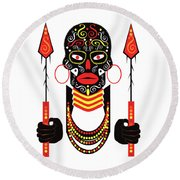 African Motive Background With Ornament Details And Spears  Round Beach Towel