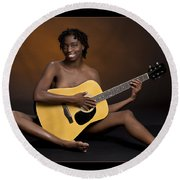 African Nude And Guitar 1184.02 Round Beach Towel