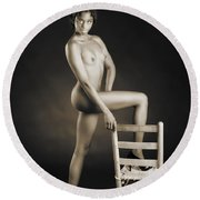 African Nude With Chair 1189.01 Round Beach Towel