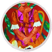 African Princess Round Beach Towel