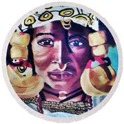 African Queen Round Beach Towel