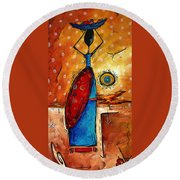 African Queen Original Madart Painting Round Beach Towel