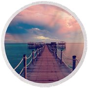 African Sunrise Cotton Candy Skies Round Beach Towel