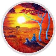 African Sunset Meditation Round Beach Towel
