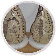 African Terracotta Gourds - View Three Round Beach Towel
