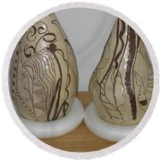 African Terracotta Gourds - View Two Round Beach Towel