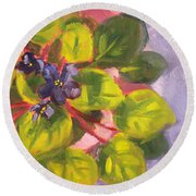 African Violet Still Life Oil Painting Round Beach Towel