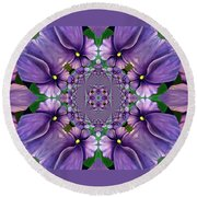 African Violet Wave Round Beach Towel