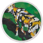 African Wild Dog Round Beach Towel