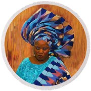 African Woman 5 Round Beach Towel