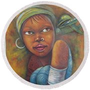 African Woman Portrait- African Paintings Round Beach Towel