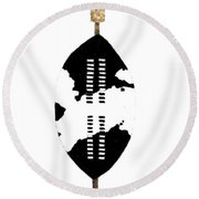 African Zulu Warrior Shield Round Beach Towel