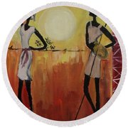 Afro Abstract Round Beach Towel