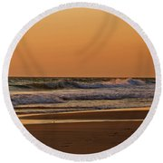 After A Sunset Round Beach Towel by Sandy Keeton