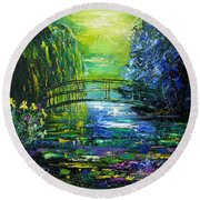 After Monet Round Beach Towel