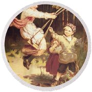 After School Round Beach Towel by Frederick Morgan