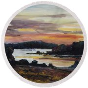 After Sunset At Lake Fleesensee Round Beach Towel